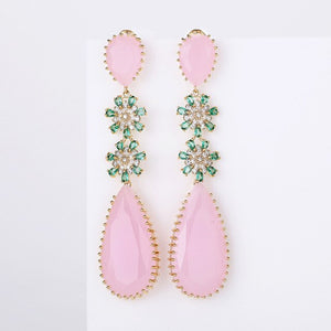 Pink Color Zircon Drop Earrings Luxury Long Water Drop Shape CZ Stone Elagant Lady`s Earrings Jewelry for Wedding XIUMEIYIZU New