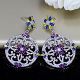 BeaQueen Brand Ethnic Style Large Round Micro Pave Cubic Zirconia Stone Colorful Drop Earrings for Bohemian Women E098