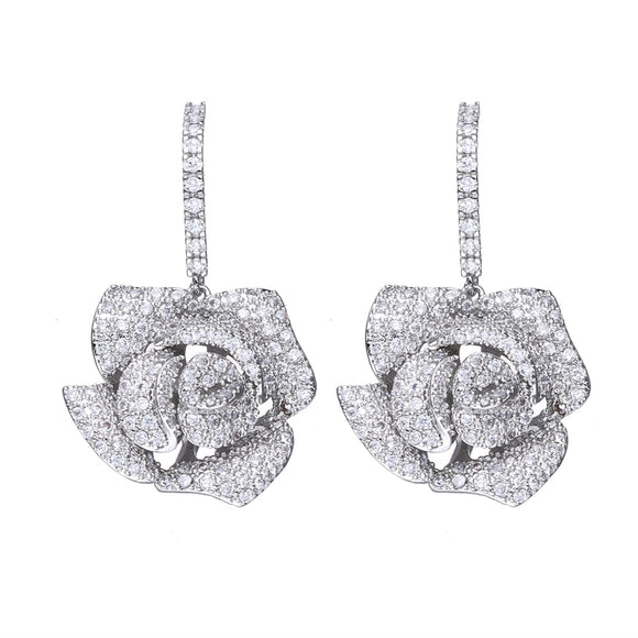 Bettyue For Female Silver Plated Flower Exaggerated Design Attractive Earring With Zirconia In New Trendy Party First Choice