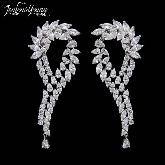 New Arrival Leaf Stud Earrings For Women White Zircon Unique Design Brand Earrings Fashion Jewelry Party Fashion Jewelry AE109