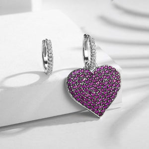Pink Stone Heart Shaped AB Design Stud Earrings For Women Fashion Luxury Jewelry Accessories