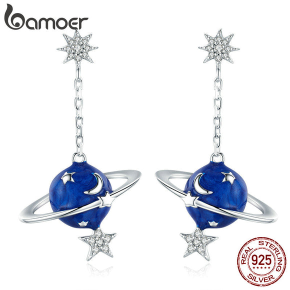 BAMOER 925 Sterling Silver Secret Planet Moon Star Drop Earrings for Women Clear Cubic Zircon Sterling Silver Jewelry BSE016
