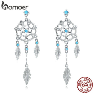 bamoer Bohemia Dream Catcher Hanging Dangle Earrings for Women Summer Feather Drop Earings 925 Sterling Silver Jewelry BSE222