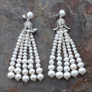 K122415 White Pearl Tassel CZ Pave Earrings