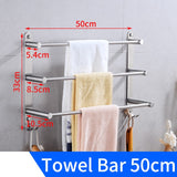 Bathroom Towel Bar Holder Stainless Steel Three Layer Towel Rack Hanging Holder Wall Mounted Towel Hanger Rack with Hooks