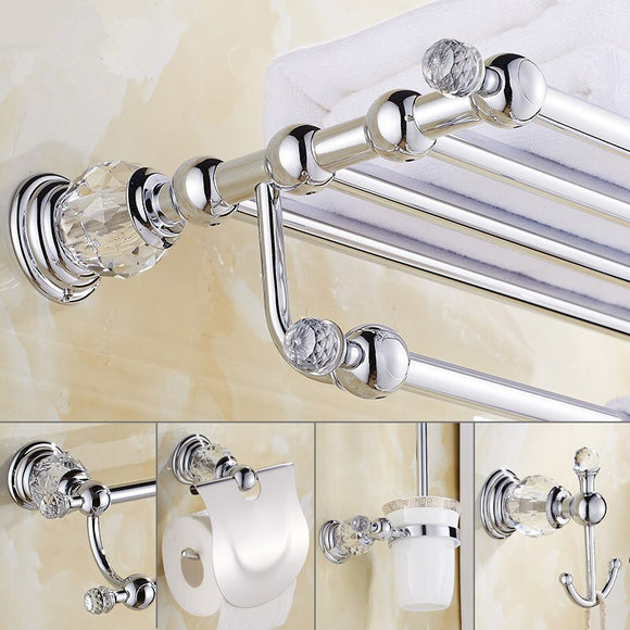 Crystal Bath Hardware Set, Chrome toilet brush holder ,Paper Holder,Towel Bar,Soap basket,Hook Brass Towel Rack bathroom set