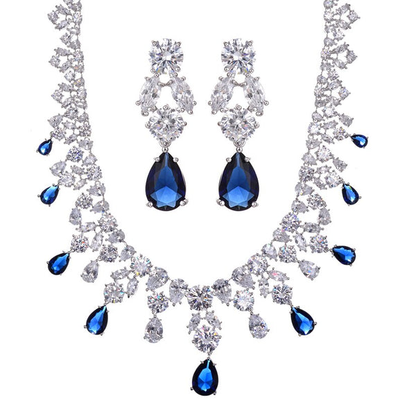 HIBRIDE Luxury Design Water Drop AAA+Cubic Zirconia White Gold Color Women Wedding Jewelry Sets For Bridal Gifts N-92