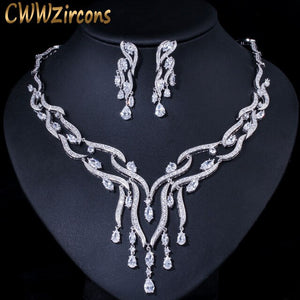 CWWZircons Luxury White Cubic Zirconia Long Big Tassel Drop Wedding Party Necklace Earrings Jewelry Sets for Women Brides T357