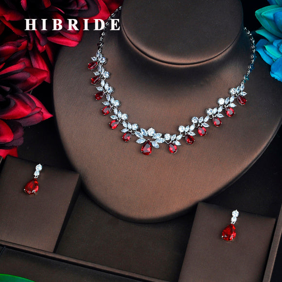 HIBRIDE Brilliant Red Cubic Zirconia Bridal Jewelry Sets For Women Pendant Set Dress Accessories Necklace Set Party Gifts N-582