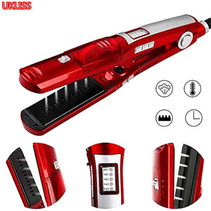 Steam Straightener LCD Display Ceramic Flat Iron Hair Straightening Straighteners Professional Hair Salon Steam Styler