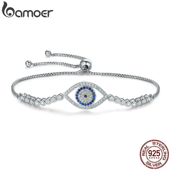 BAMOER High Quality 100% 925 Sterling Silver Blue Eye Tennis Bracelet Women Lace up Link Chain Bracelet Silver Jewelry SCB034
