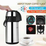 3L Airpot Pump Coffee Flask Stainless Steel Vacuum Pump Action Airpot Hot/Cold Coffee Flask Catering Jug with Lock Button/Handle