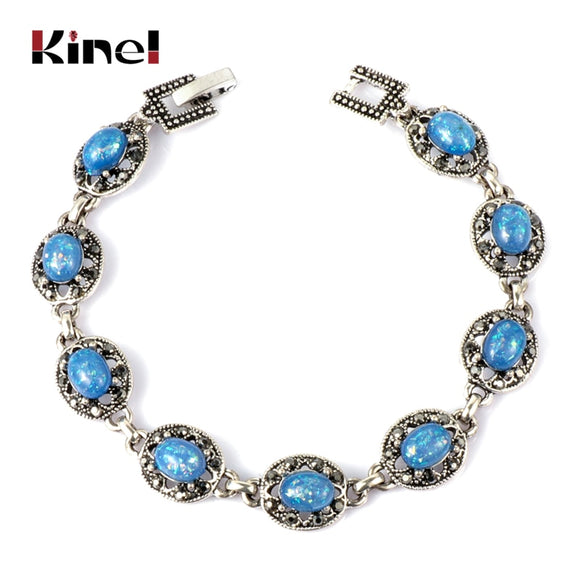 Kinel 2019 New Blue Opal Bracelet Vintage Jewelry Silver AAA Crystal Bracelets For Women Christmas Party Gift Drop Shipping