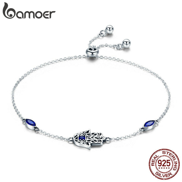 BAMOER Hot Sale 100% 925 Sterling Silver Lucky Hamsa Fatima Hand Chain Link Bracelets for Women Blue CZ Silver Jewelry SCB076