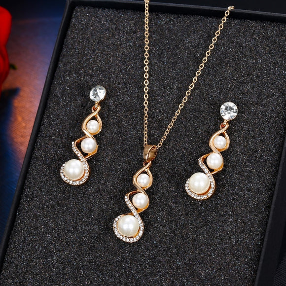 VKME Fashion Crystal Drop Necklace Earring Jewelry Set Ms. Bride Pearl Jewelry Set Charm Gift