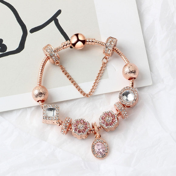 Pandoras Rose gold handmade DIY pendant bracelet jewelry charm 925 silver crystal beads bracelet bangles for women Holiday Gift