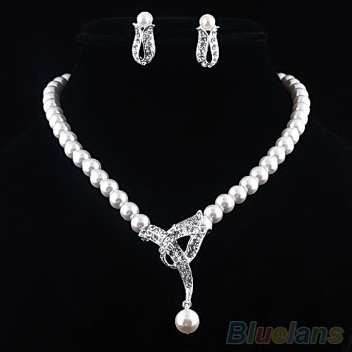 Faux Pearl Crystal Choker Women Necklace Earrings Jewelry Set For Wedding Party