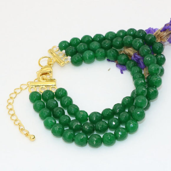 clasps green faceted round 6mm stone jades chalcedony 3 rows bracelets charms design jewelry 7.5inch B2790