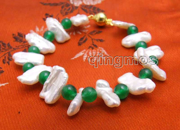 Qingmo12-15mm Natural Freshwater Biwa White Pearl Bracelet for Women with 6mm Round Green Jades Bracelet 7.5'' bra329