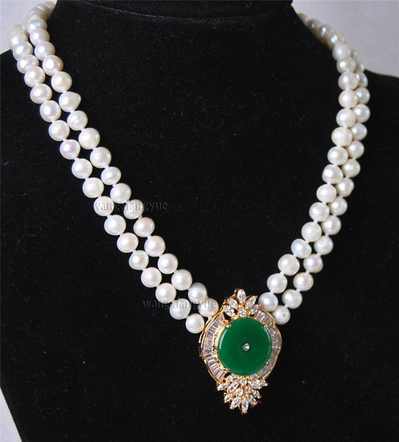 Beautiful 2Rows White Pearl Green  Pendant Necklace