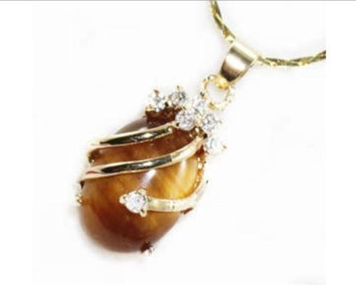 Hot sale new Style >>>>>Natural 13x18mm Oval Tiger's Eye Pendant Necklace AAA Crystal Healing Chatoyant