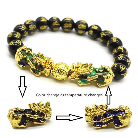 Men's Bracelet Feng Shui Obsidian with Gold-Plating Pi Xiu
