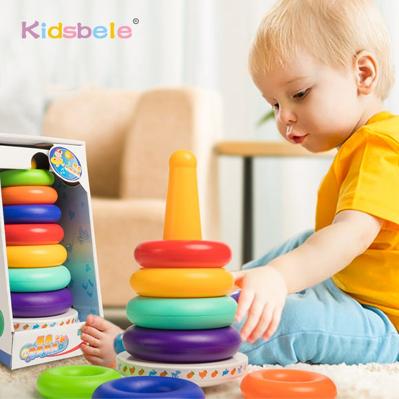 Stacking Rings Toys Baby Early Learning Color Rainbow Tower Kids Intelligence Development Handbell Educational Stacked Toys