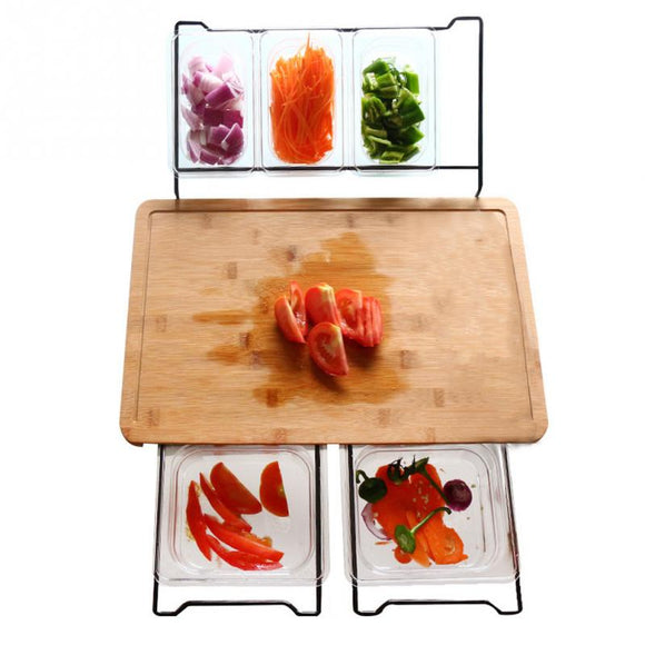 Vegetable Kitchen Cutting Board  With Storage Box Smooth Multifunction Practical Fruit Bamboo Food Storage