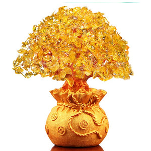 Crystal Lucky Money Fortune Tree Tabletop Ornament Craft