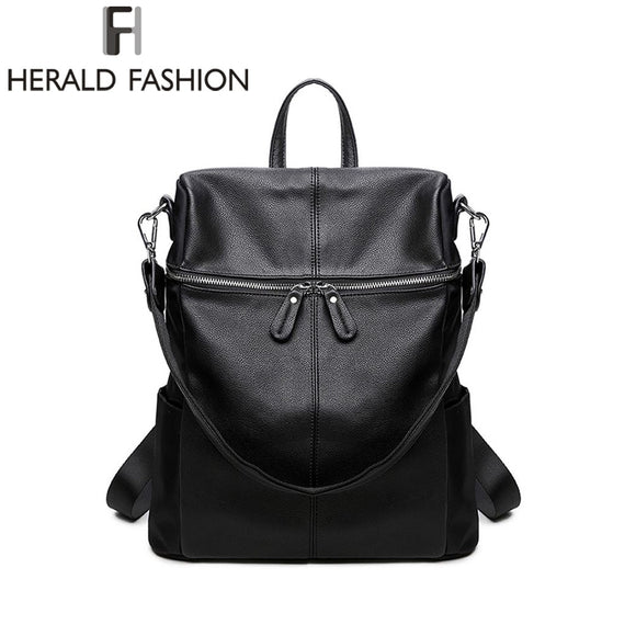 Herald Fashion Women's PU Leather Backpack School Bags For Teenage Girls