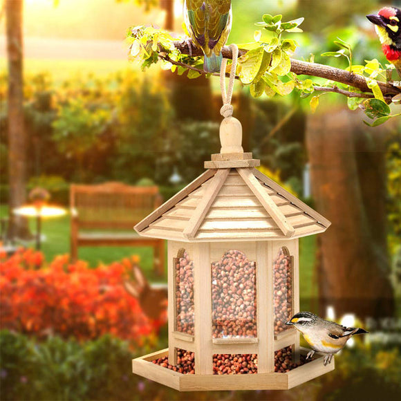 Wooden Bird Feeder Hanging for Garden Yard Decoration Hexagonal Shaped with Roof PAK55