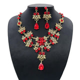 Crazy Feng Wedding Jewelry Sets Luxury CZ Crystal Necklace and Drop Earrings Pendant
