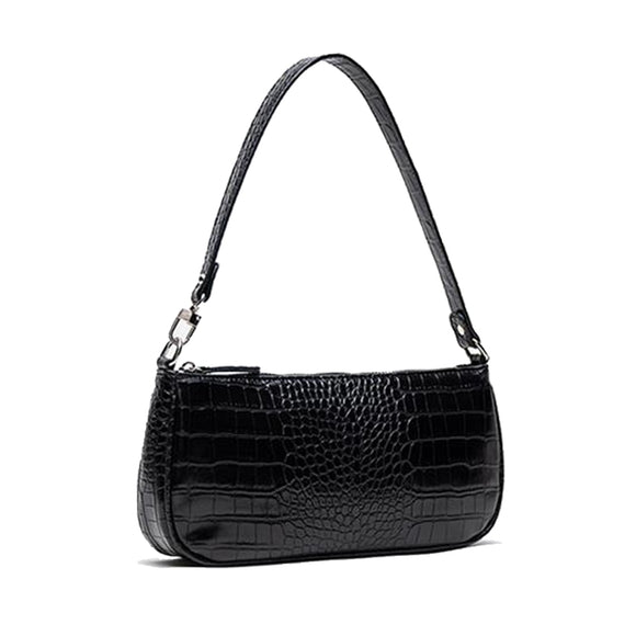 Barabum Retro Classic Crocodile Pattern Clutch Shoulder Baguette Bag with Zipper Closure for Women
