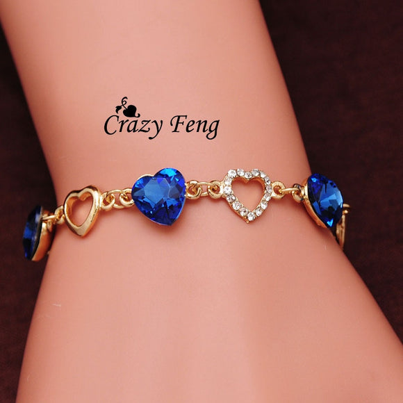 Fashion Charm Bracelet Gold Color Chain Link Crystal Chain Heart Lover Bracelets Bangles For Women Jewelry Gift