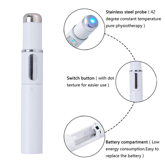Acne Laser Pen Portable Wrinkle Removal Machine Durable Soft Scar Remover Device Blue Light Therapy Pen Massage Relax