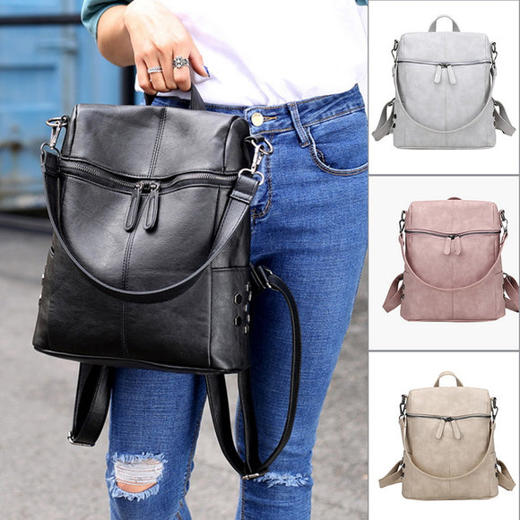 MoneRffi Fashion Leather Backpack Women Waterproof PU Leather Ladies Zipper Female Casual Shoulder Bag Teenager School Bag 2019