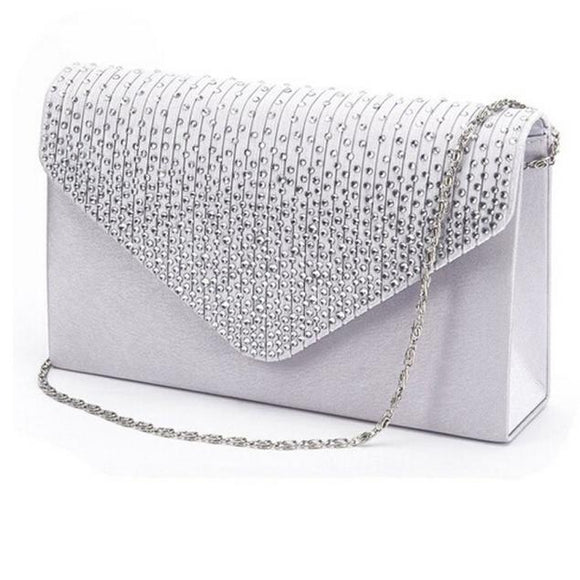 Ladies Satin Clutches Evening Bags Crystal Bling Handbags Wedding Party Purse Envelope