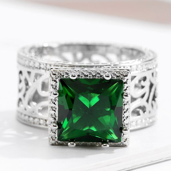 Luxurious Big Zircon Rings Large Dark Green Square Geometric Crystal Ring High Quality Graceful Hollow Out Rings For Women