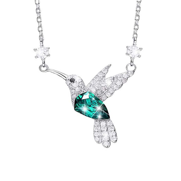 Women Blue Zircon Bird Necklaces Pendant