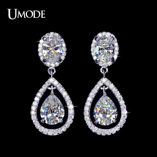UMODE Sparkling tiny CZ Halo Tear Drop Wedding Earrings UE0074