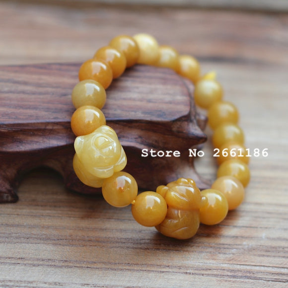 Natural Yellow Quartzite Stone Pig Bracelet  Round Beads Bangles Gift for Women  Nephrite Jades Jewelry