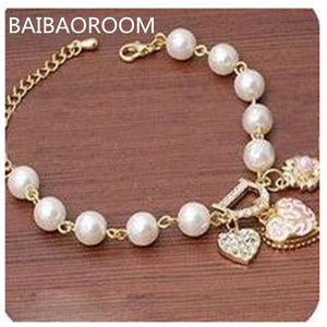 Fashion Jewelry Bohemia Heart&D with Floral imitation Pearl Love Heart Bracelets Bangles