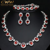 CWWZircons Sparkling Round Cubic Zirconia Luxury Big Bridal Red Necklace Earring Bracelet Set For Wedding Party Jewelry T083