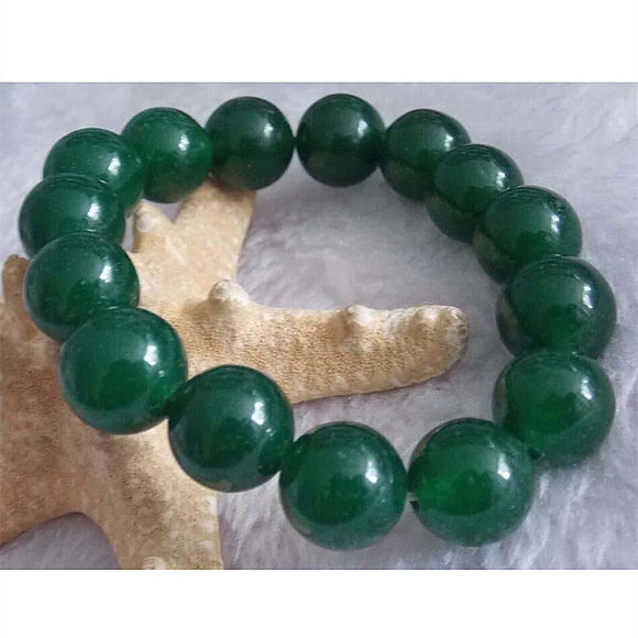 HOT Green chalcedony jades natural stone 12mm Round Beads handmade Bracelet for women diy bangle jewelry 7.5''BV263