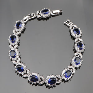 SexeMara Round Blue Zirconia White Cliffs Opal Silver Link Chain 20CM Bracelet For Women Free Gift Box
