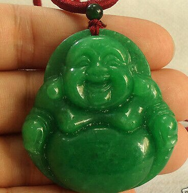 free shipping ddh002240 Chinese Big Green Laughing Buddha Semi-precious Stone pendant necklace 5.3