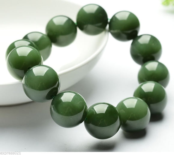 Green Chinese 100% Grade A Natural Smooth Beads stone/Jadeite Bracelet