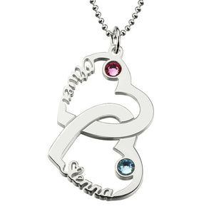 Wholesale Heart Names Necklace With Birthstone Sterling Silver 2 Open Heart Necklace Customized Couple Necklace Love Jewelry