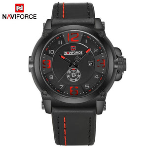 NAVIFORCE Top Luxury Brand Men Sports Military Quartz Watch Man Analog Date Clock Leather Strap Wristwatch Relogio Masculino