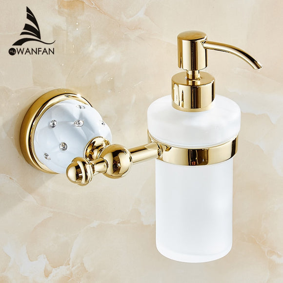 Soap Dispensers Luxury Golden Wall Mounted Liquid Soap Holder With Gold Frosted Glass Container Bottle Bathroom Products 5218